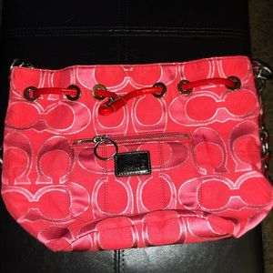Like new - pink and red Coach bag